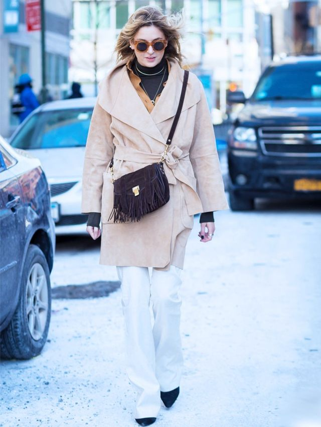 Style Notes: A suede cover-up makes the coolest partner in crime to a cashmere belted coat. Bring on the snow!