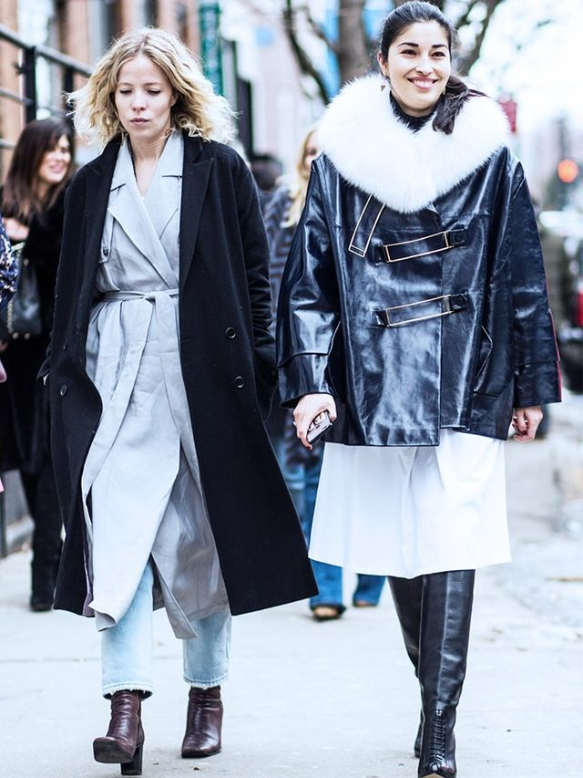 Style Notes: A belted trench and an oversize wool coat lookultra elevated. Copy that.