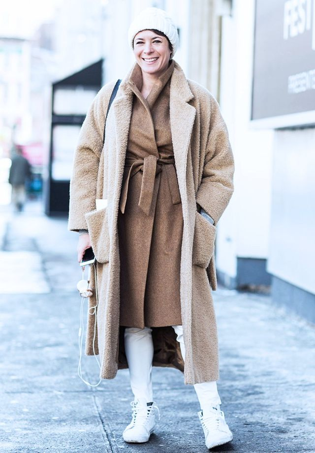Style Notes: More is certainly more when it comes to beige and camel coat blends.