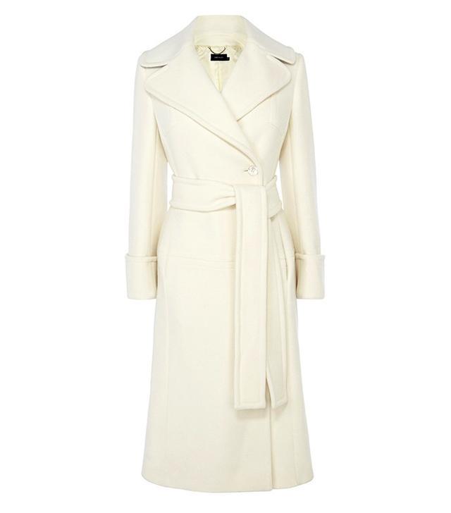 Karen Millen Winter White Long Line Belted Coat
