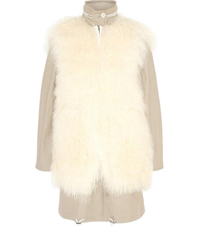 Sacai Luck Shearling and Herringbone Canvas Coat £