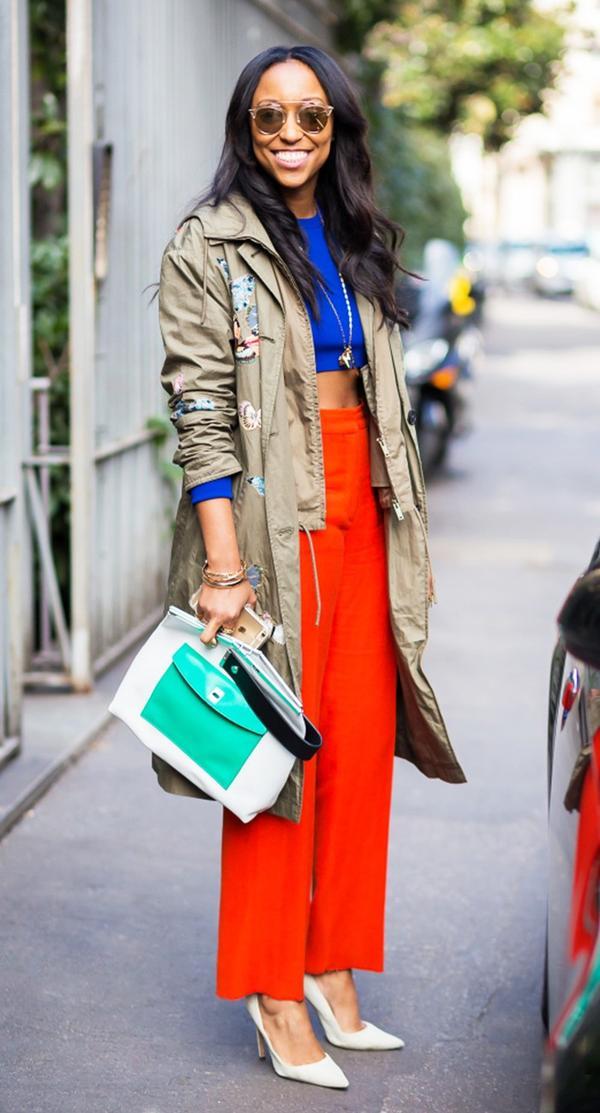 Shiona Turini red pants street style