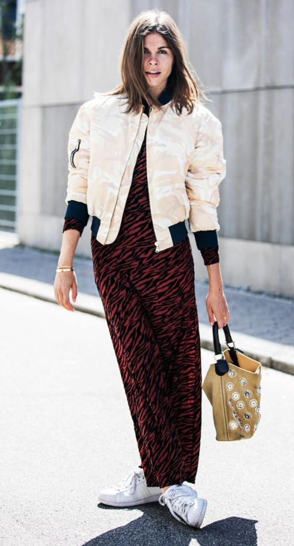 Emily Weiss bomber jacket street style.