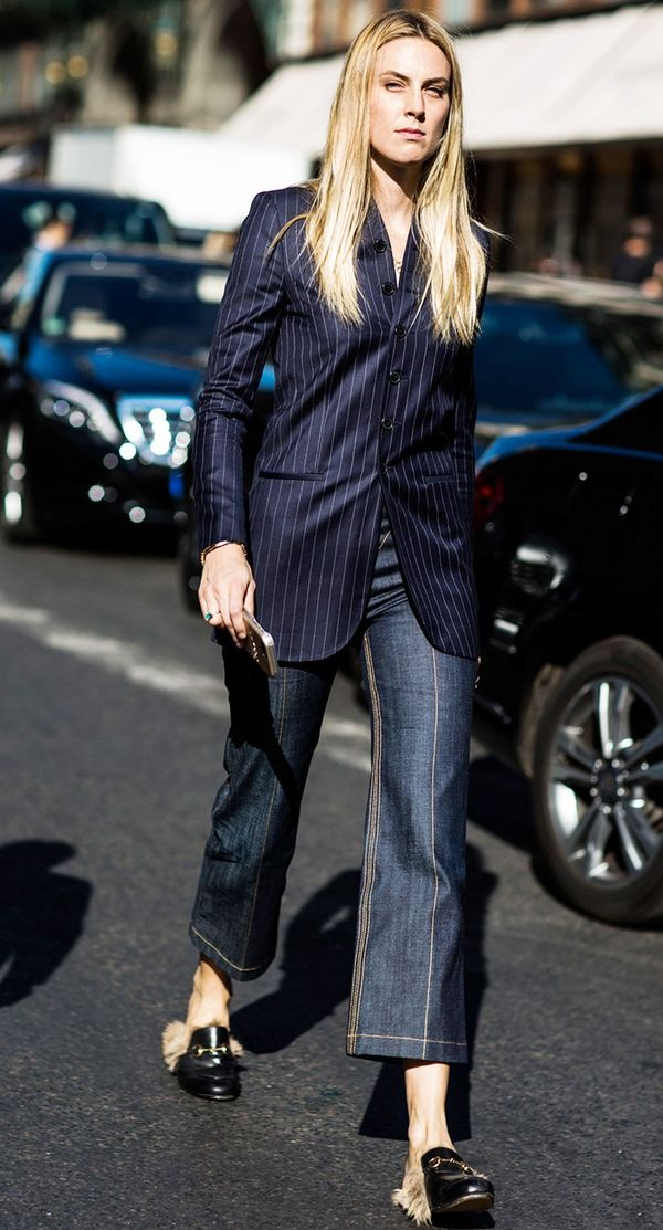Pinstripe blazer gucci loafers street style.