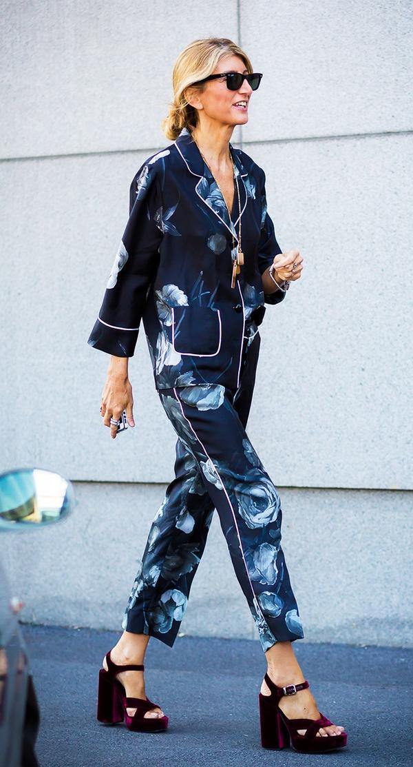 pajama and platform heels street style