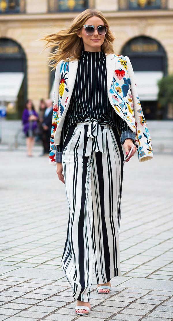 Olivia Palermo stripes street style.