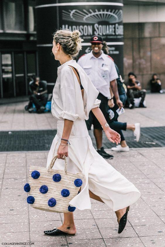 Laurel Pantin straw bag street style