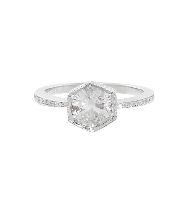 Cathy Waterman Black and White Diamond Hexagonal Bezel Ring