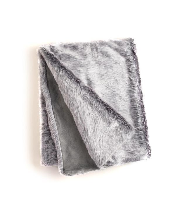World Market Gray Faux Fur Throw
