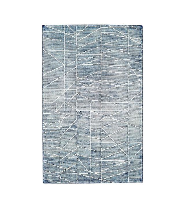 West Elm Erased Lines Wool Rug in Blue Lagoon
