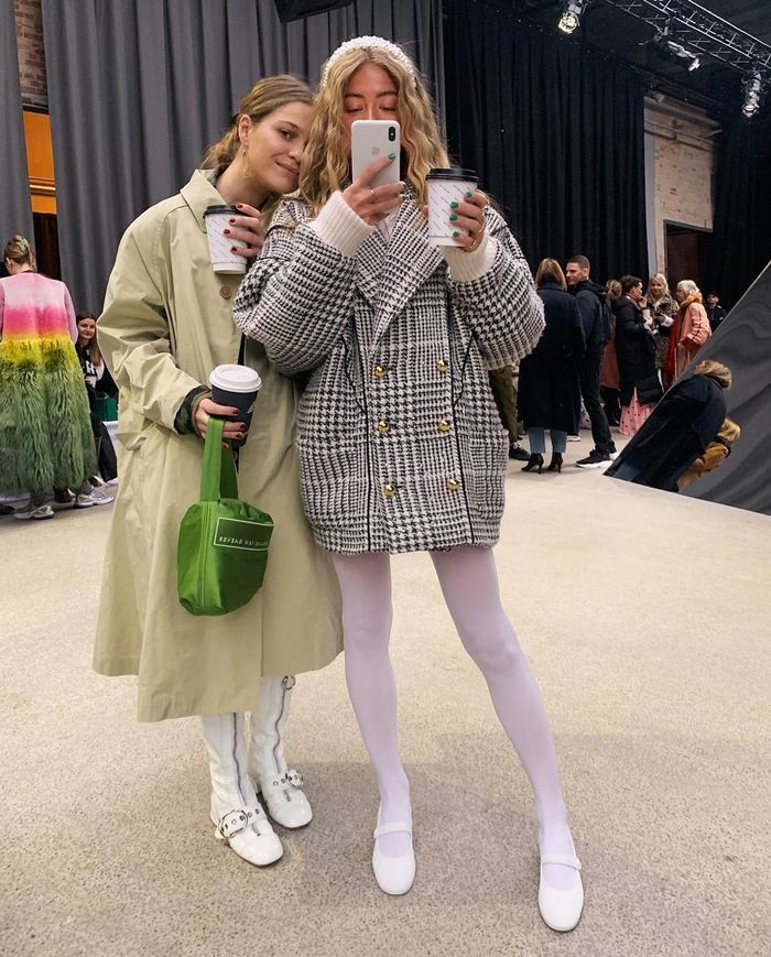 Best mary jane shoes: Emili Sindlev wearing white mary janes from Chanel