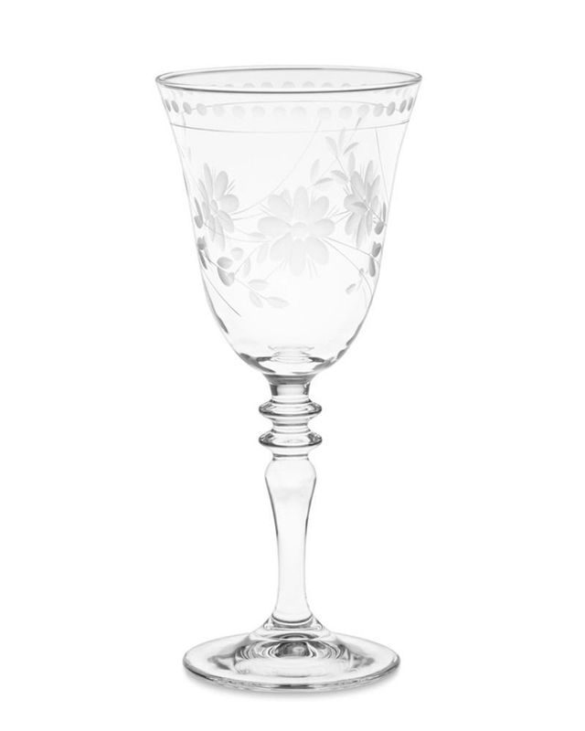 Williams-Sonoma Vintage Etched Wine Glass