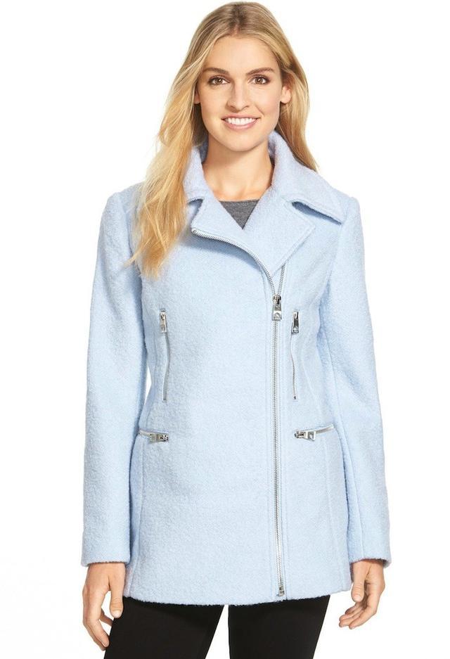 Guess Bouclé Asymmetrical Zip Coat
