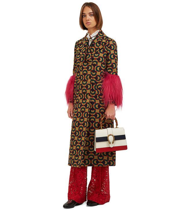 Gucci Jacquard Fur Cuff Coat