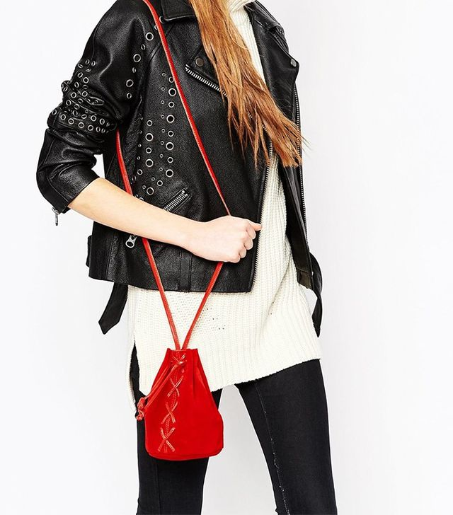 ASOS Mini Suede Lace Up Duffle Bag