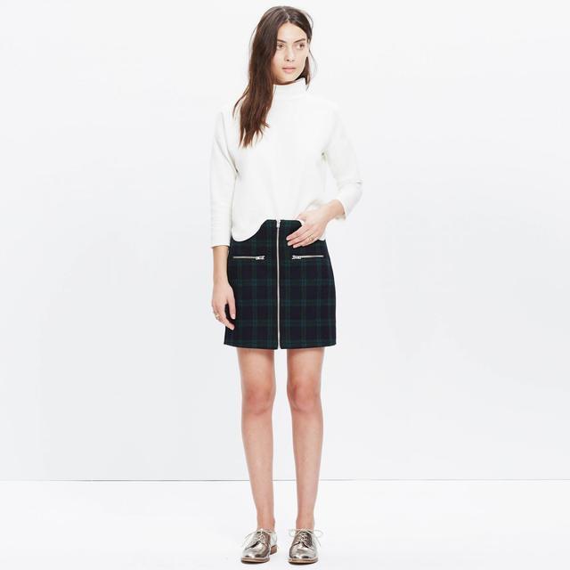 Madewell Zip Skirt in Dark Plaid