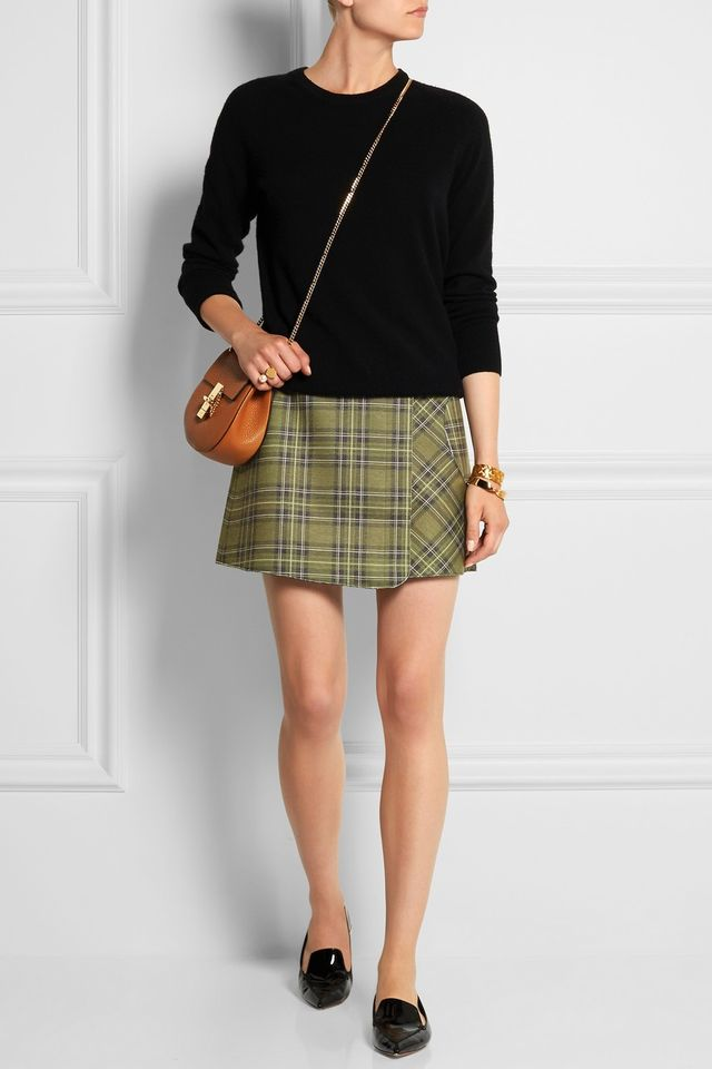 Victoria Beckham Denim Scuba-Jersey Wrap Mini Skirt