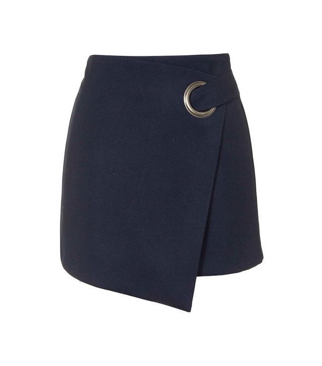 Topshop Eyelet Mini Wrap Skirt