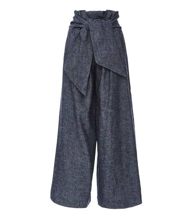 MSGM Chambray Culottes with Knotted Waist Front