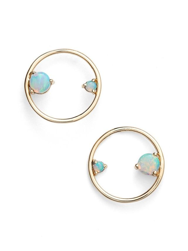 Wwake Opal Circle Earrings