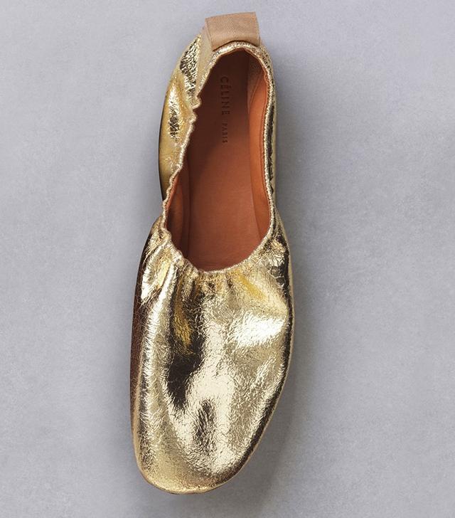Céline Soft Ballerina in Gold Metallic Suede Calfskin