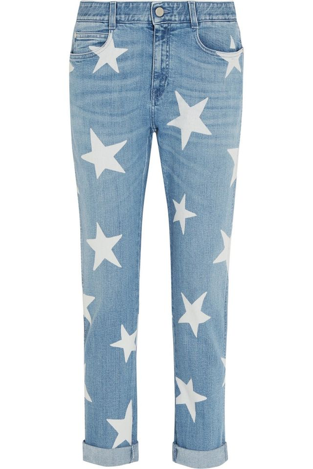 Stella McCartney Printed Mid-Rise Slim Boyfriend Jeans