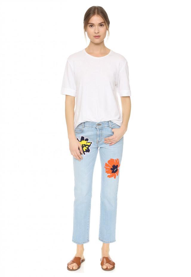 Stella McCartney Tomboy Flower Embroidered Jeans
