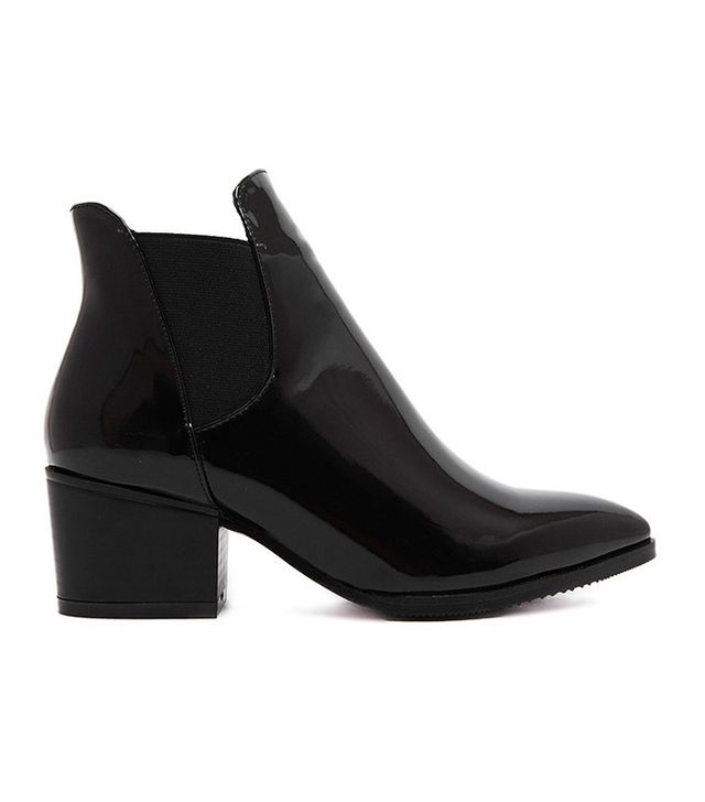 SheIn Black Point Toe Stretch Side Inserts Ankle Boots