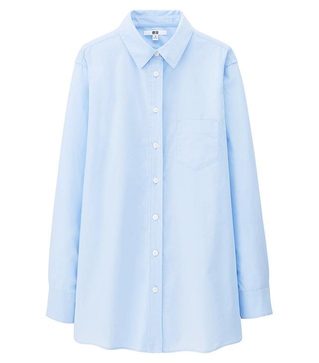 Uniqlo Women Extra Fine Cotton Long Sleeve Long Shirt
