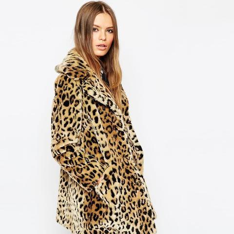 Faux Fur Coat in Leopard