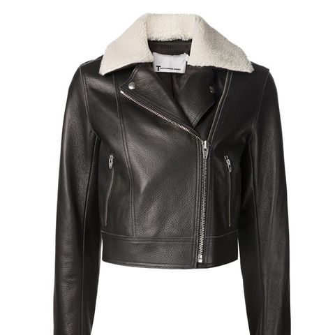 Shearling Collar Biker Jacket