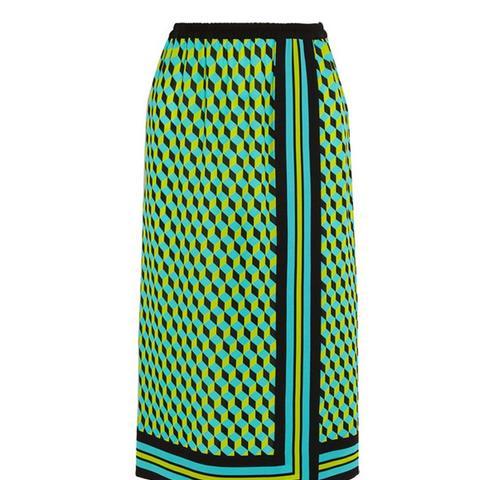 Printed Wrap-Effect Silk-Crepe Skirt