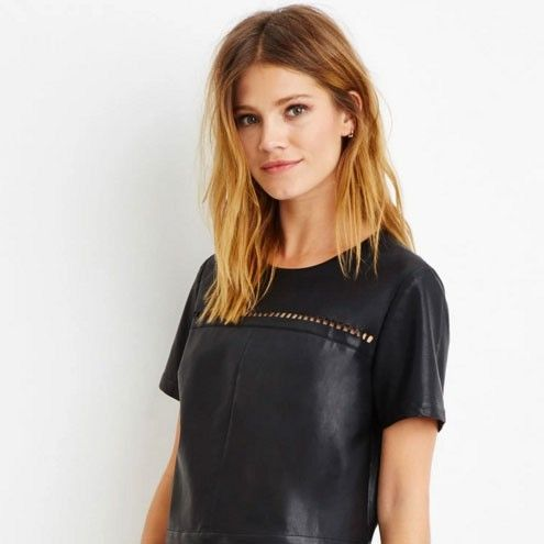 Forever 21 Lasercut Faux Leather Top