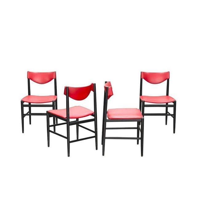 Cassina Set of Four Gianfranco Frattini Red Leather Chairs
