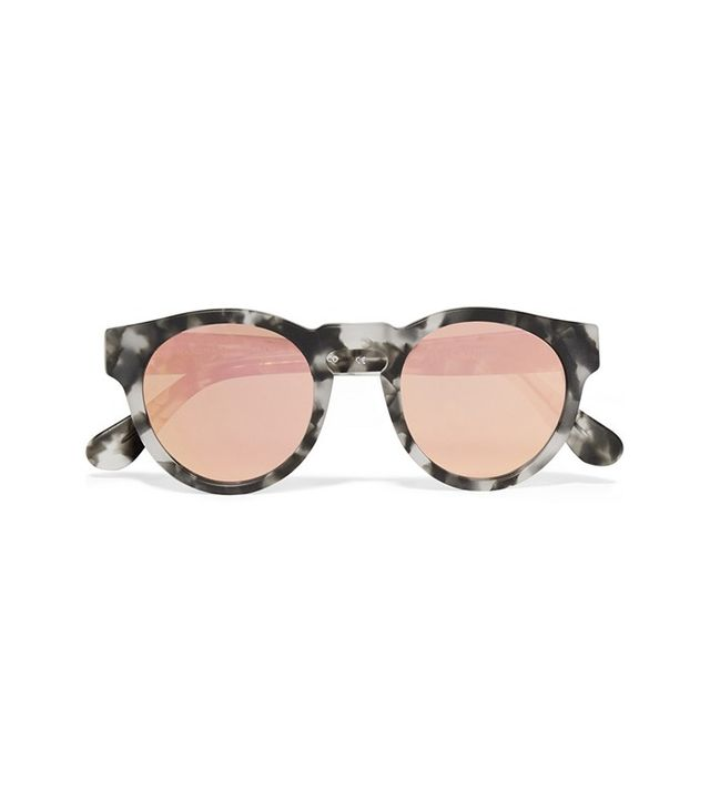 Westward Leaning x Olivia Palermo Voyager 15 Round-Frame Acetate Mirrored Sunglasses