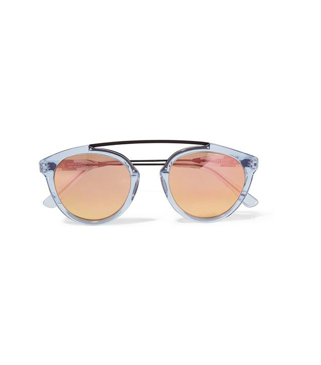 Westward Leaning x Olivia Palermo Flower 14 Aviator-Style Acetate and Metal Mirrored Sunglasses