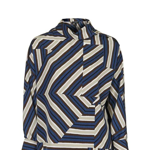 High-Neck Striped Blouse