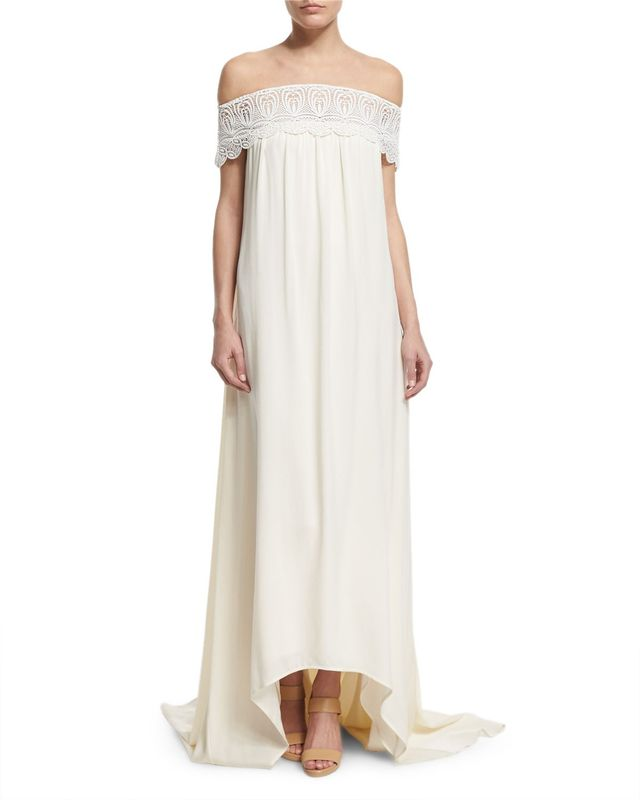 Self-Portrait Off-the-Shoulder Chiffon Lace-Trim Gown