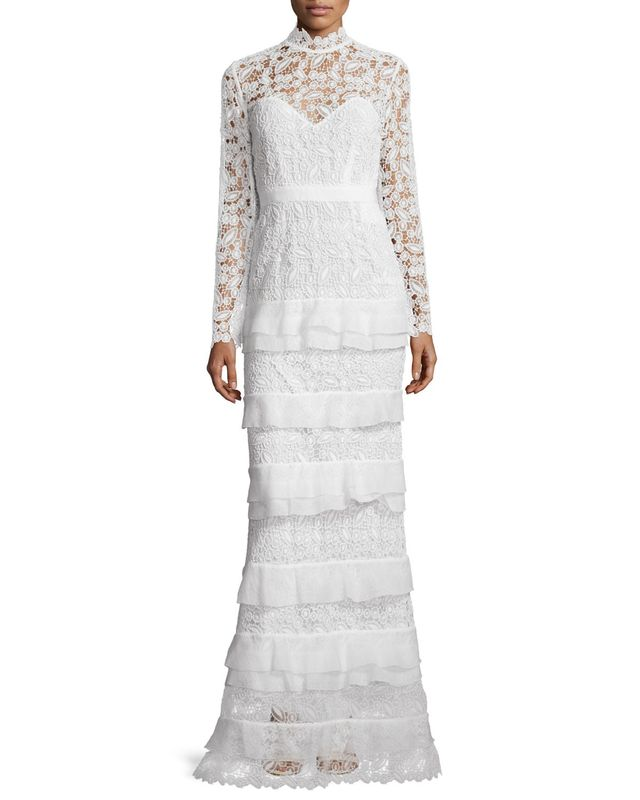 Self-Portrait Primrose Long-Sleeve Tiered Lace Gown