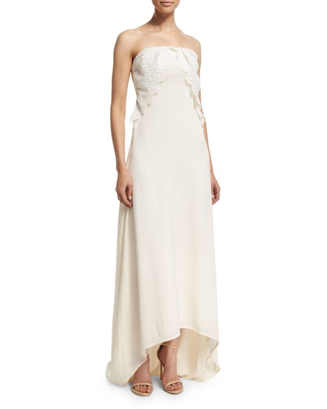 Self-Portrait Isabella Strapless Lace-Trim Gown