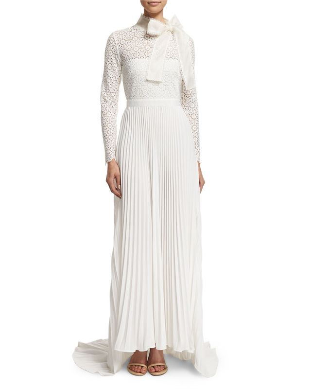 Self-Portrait Long-Sleeve Pleated Lace-Trim Gown