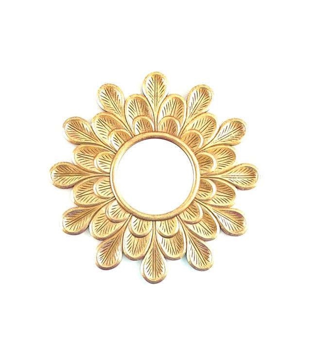 Pottery Barn Kids Carved Gold Flower Mirror