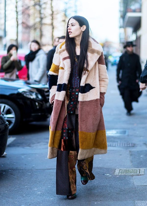 Who:Gilda Ambrosio What: Milan Men's Fashion Week A/W 16. Wear:Etro trousers. How to wear a furry coat all year round.