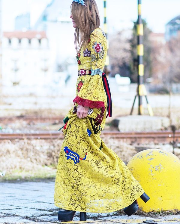 Who:Anna Dello Russo What: Milan Men's Fashion Week A/W 16. Wear: Gucci dress (shop a similar style). Must-Read: There's something about Gucci!