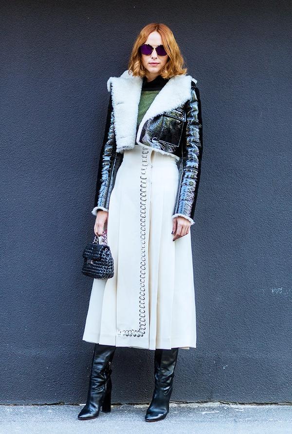 Who:Candela Novembre What: Milan Men's Fashion Week A/W 16. Wear:Fendi jacket; Vintage dress; Pollini boots.