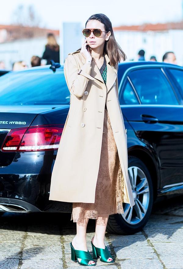 Who: Natasha Goldenberg What: Milan Men's Fashion Week A/W 16. Wear: Gucci Green Crossover Mules(£380).