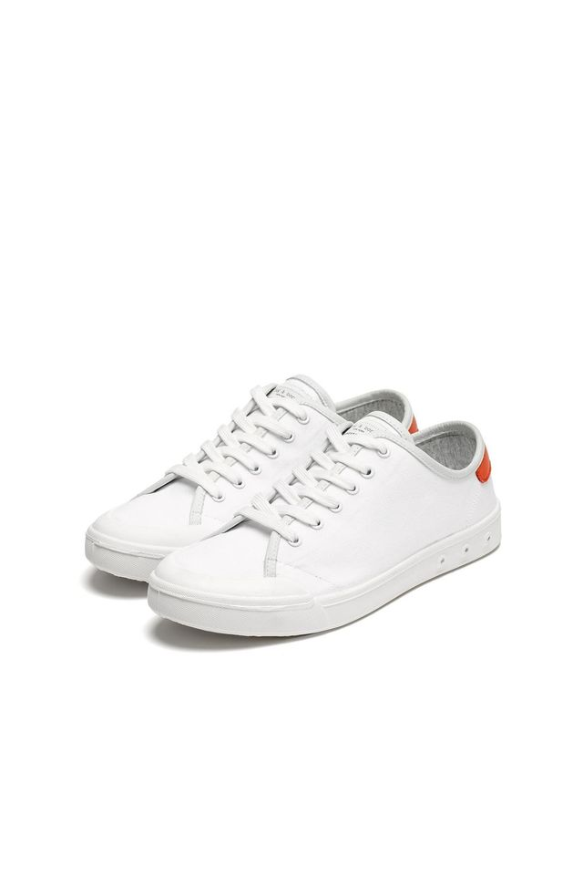 Rag & Bone Standard Issue Lace Up Sneakers in White/Red