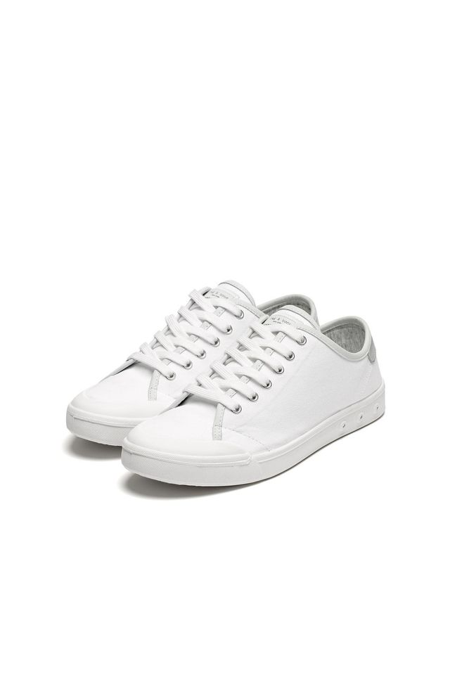 Rag & Bone Standard Issue Lace Up Sneakers in White/Silver