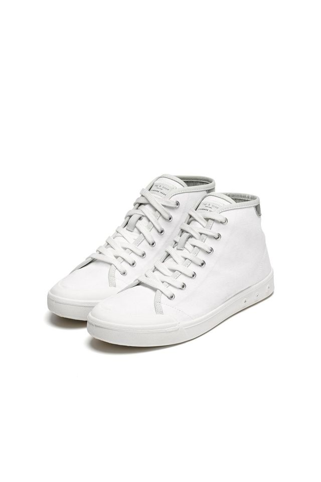 Rag & Bone Standard Issue High Top Sneakers in White/Silver