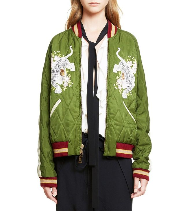 Chloé Reversible Embroidered Tech Satin Bomber Jacket